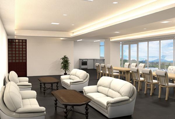 桜島を眺望できる食堂、キッチン、リビング、娯楽室が各階にあります